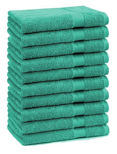 BETZ 10 Toallas de tocador Premium tamaño 30x50cm 100% algodón Color Verde Esmeralda
