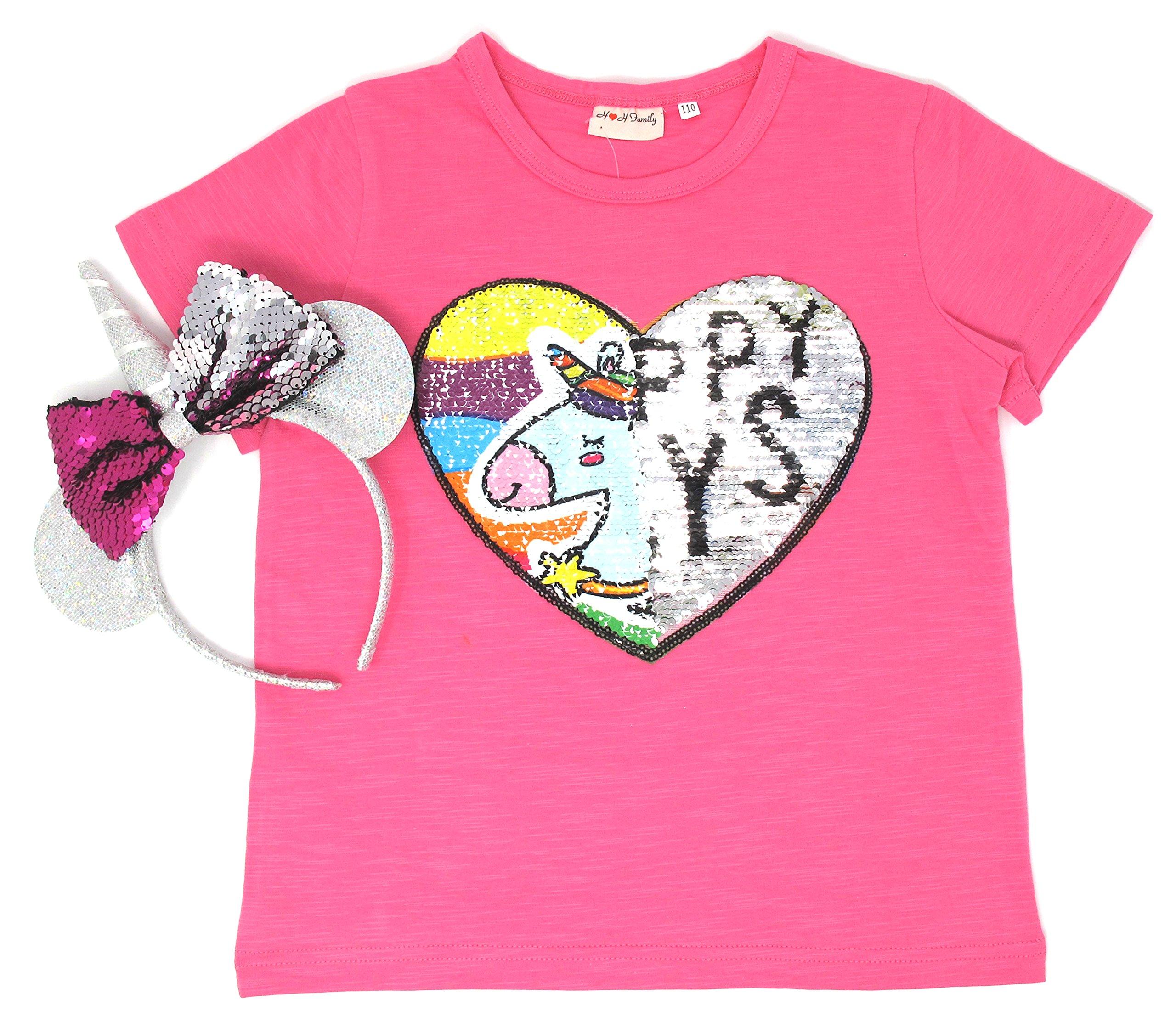Unicorn Flip Heart Sequin Girl's T-Shirt with Flip Sequin Unicorn Headband 4-12 Years (6-7, Hot Pink+Headband)