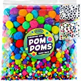 Carl & Kay 2200 pcs Jumbo Pom Poms, 200 Googly Eyes & 2000 Assorted Size Pompoms, Bulk Craft Supplies for Classroom…