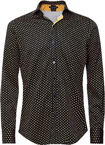 Guide London Hombres Camisa de Lunares Ajustada Black XXL ...