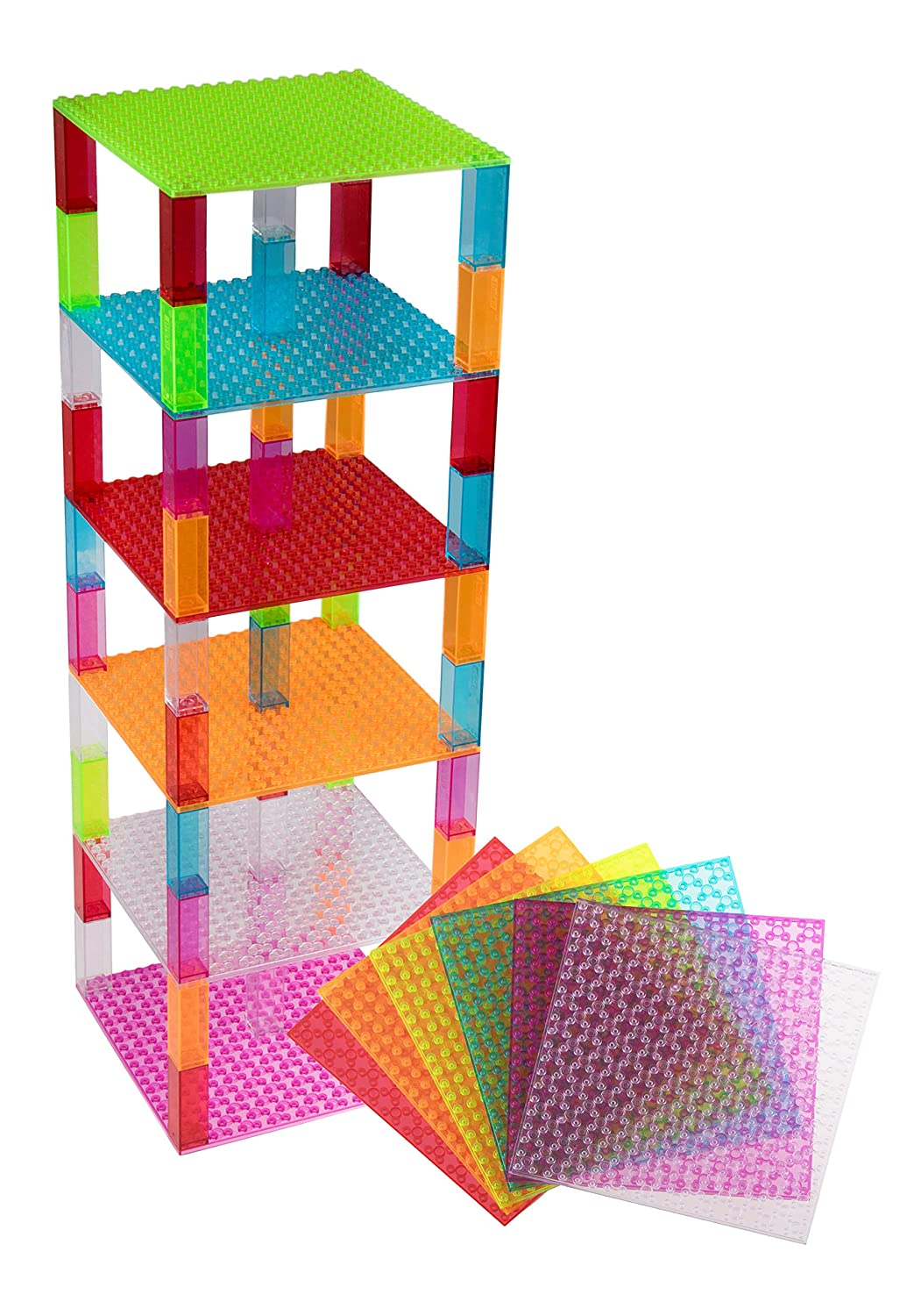 """Classic Stackable Baseplates 6"""" x 6"""" Brik Tower by Strictly Briks   100% Compatible with All Major Brands   Building Bricks for Towers & More   12 Base Plates & 120 Stackers in 12 Fun Clear Colors Review"""