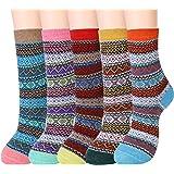 Women Warm Winter Wool Socks Cozy Soft Vintage Boot Socks Gifts Pack of 5
