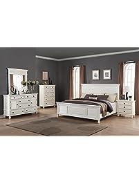 roundhill furniture regitina 016 bedroom furniture set queen bed dresser mirror nightstand - Bedroom Furniture White