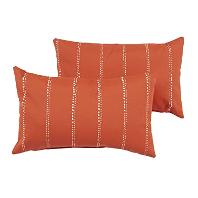 Mozaic Company AZPS7060 Indoor Outdoor Lumbar Pillows, Set of 2, 12 x 18, Orange & White Dotted Stripes : Garden & Outdoor