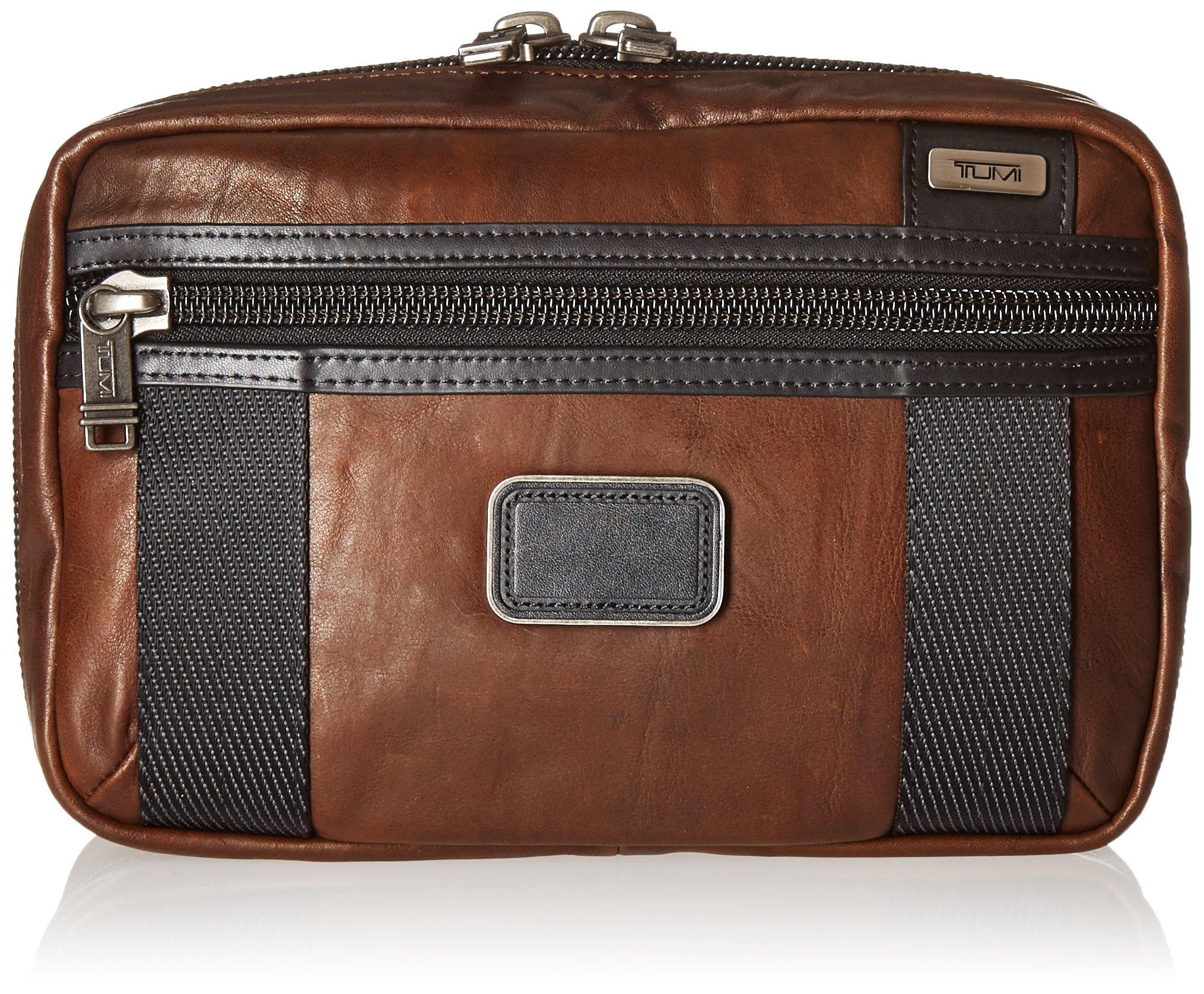 Tumi Alpha Bravo Leather Riley Kit, Dark Brown by Tumi