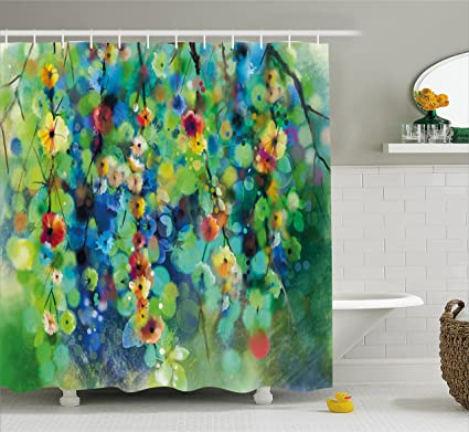 Amazon Com Ambesonne Watercolor Flower Home Decor Shower Curtain