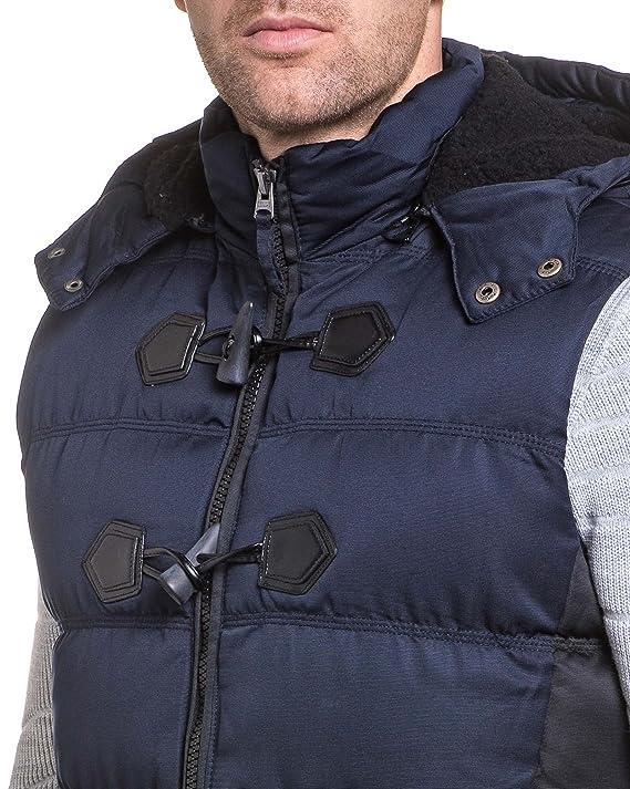 4984e98192588 Deeluxe 74 - Doudoune homme navy sans manches à fourrure - couleur  Bleu -  taille  XXL  Amazon.fr  Vêtements et accessoires