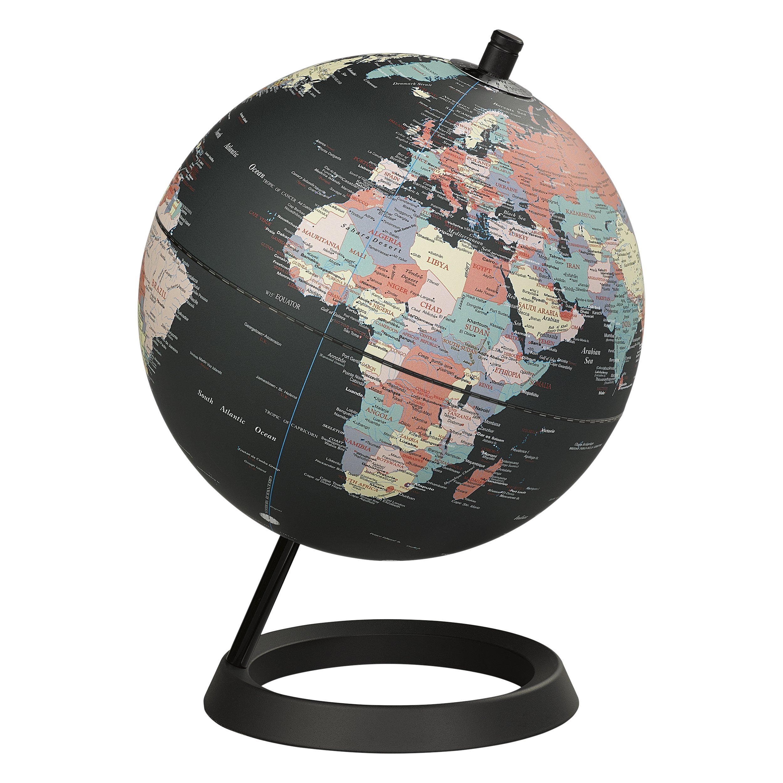 Wild Wood Classic Geographic World 8'' Desk Globe with Stand, Black Ocean (AWWL069)