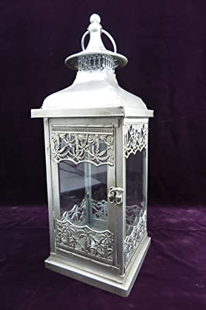 d72109b957 exlusive Large garden lantern Crown Large Metal Wind Lantern with Tea Light  Candle Holder Rustic Silver