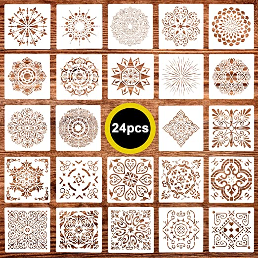 24 Pack (6x6Inch) Painting Drawing Mandala Dot Stencils Template for DIY Rock Painting Art Projects, Reusable