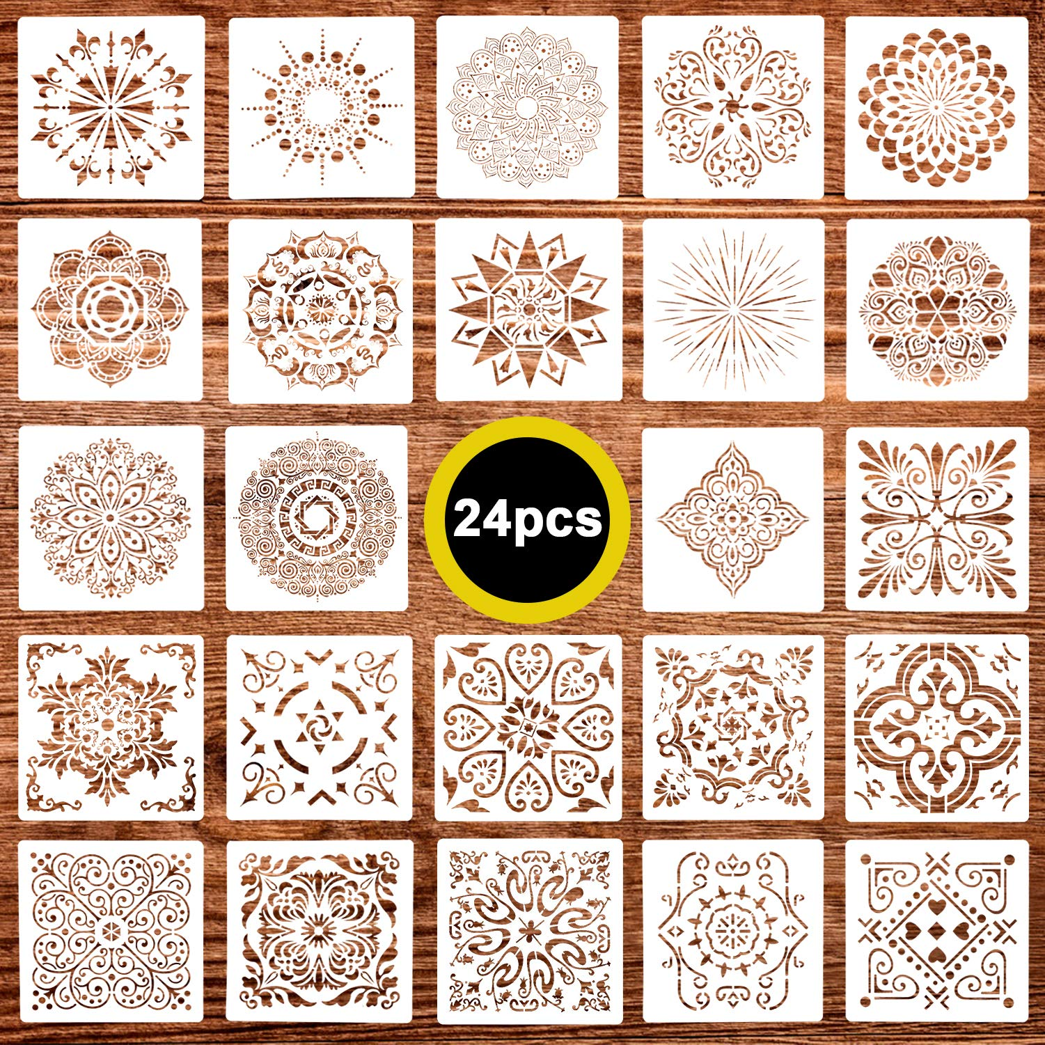 24 Pack (6x6 Inch) Painting Drawing Stencils Mandala Template for DIY Rock Painting Art Projects, Reuseable by Juome