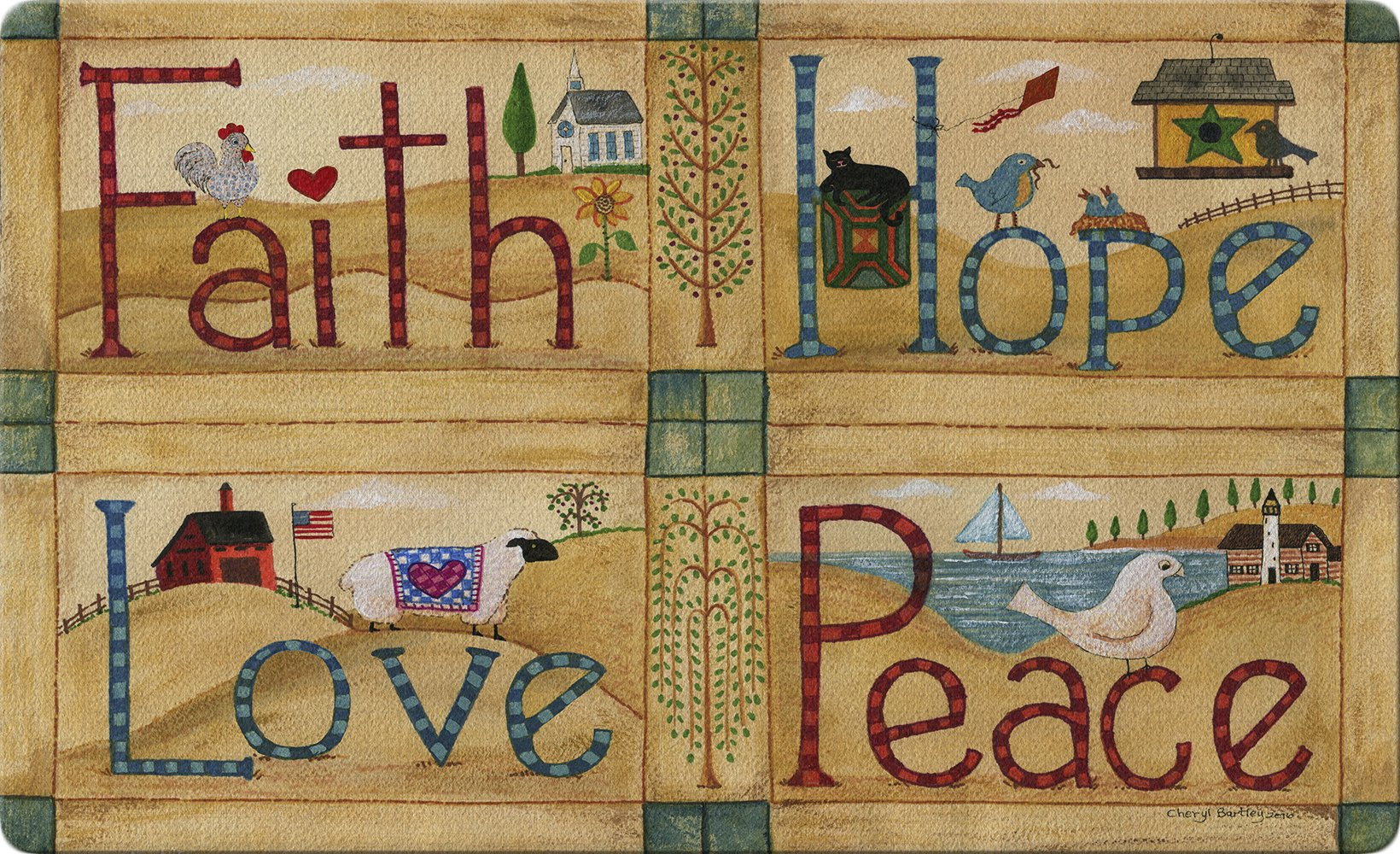 Toland Home Garden Faith Hope Love Peace 18 x 30 Inch Decorative Americana Floor Mat Rustic Farm Doormat