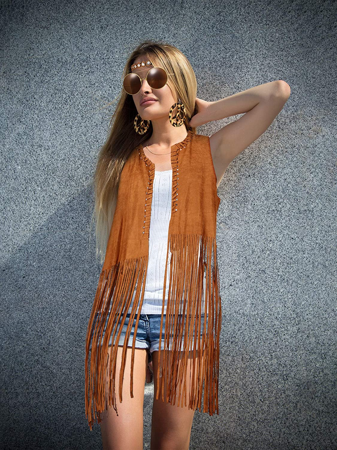 70s Jackets, Furs, Vests, Ponchos 4 Pieces Women Hippie Costume Set Fringe Vest Faux Suede Tassels Vest $29.99 AT vintagedancer.com