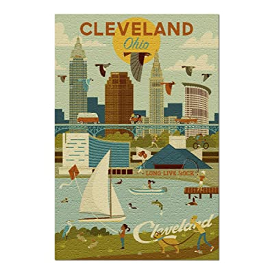 Cleveland, Ohio - Geometric 97460 (Premium 1000 Piece Jigsaw Puzzle for Adults, 20x30, Made in USA!): Toys & Games