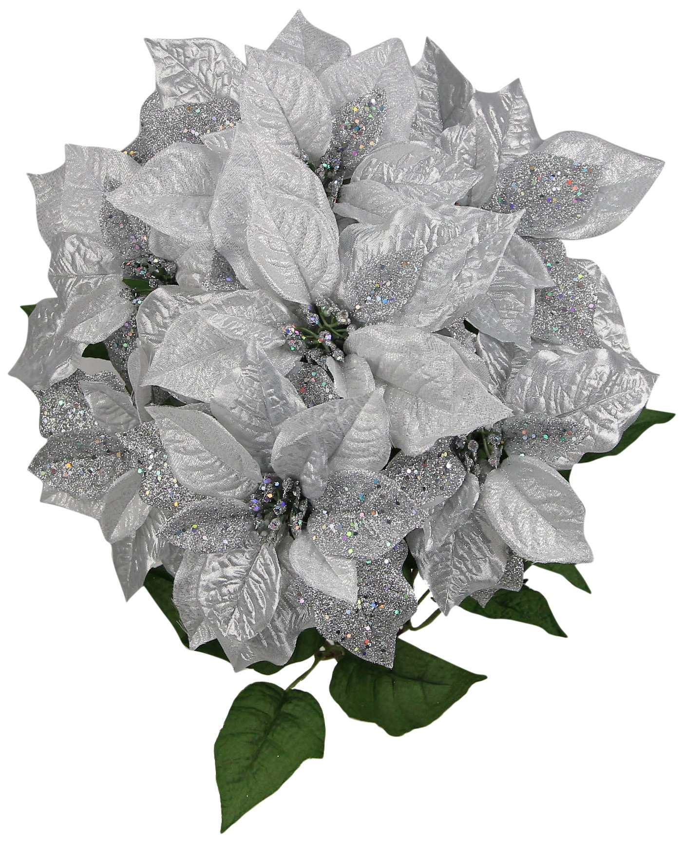 Admired By Nature 7 Stems Faux Poinsettia Sequins Flowers Bush for Home, Office, Hotel and Seasonal Events Arrangement Decoration, Silver