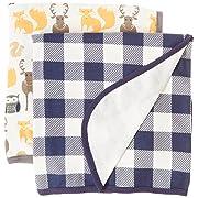 Hudson Baby 2 Piece Interlock Cotton Swaddle Blanket, Forest, One Size