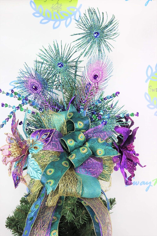 Amazoncom Purple Peacock Christmas Tree Topper Wreath