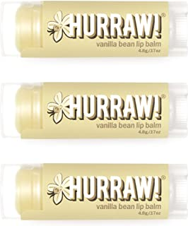 product image for Hurraw! Vanilla Bean Lip Balm, 3 Pack: Organic, Certified Vegan, Cruelty and Gluten Free. Non-GMO, 100% Natural Ingredients. Bee, Shea, Soy and Palm Free. Made in USA