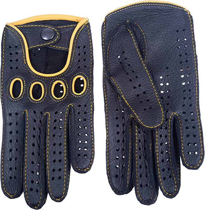 Handmade Driving Gloves Deerskin Leather yellow Stitching and piping