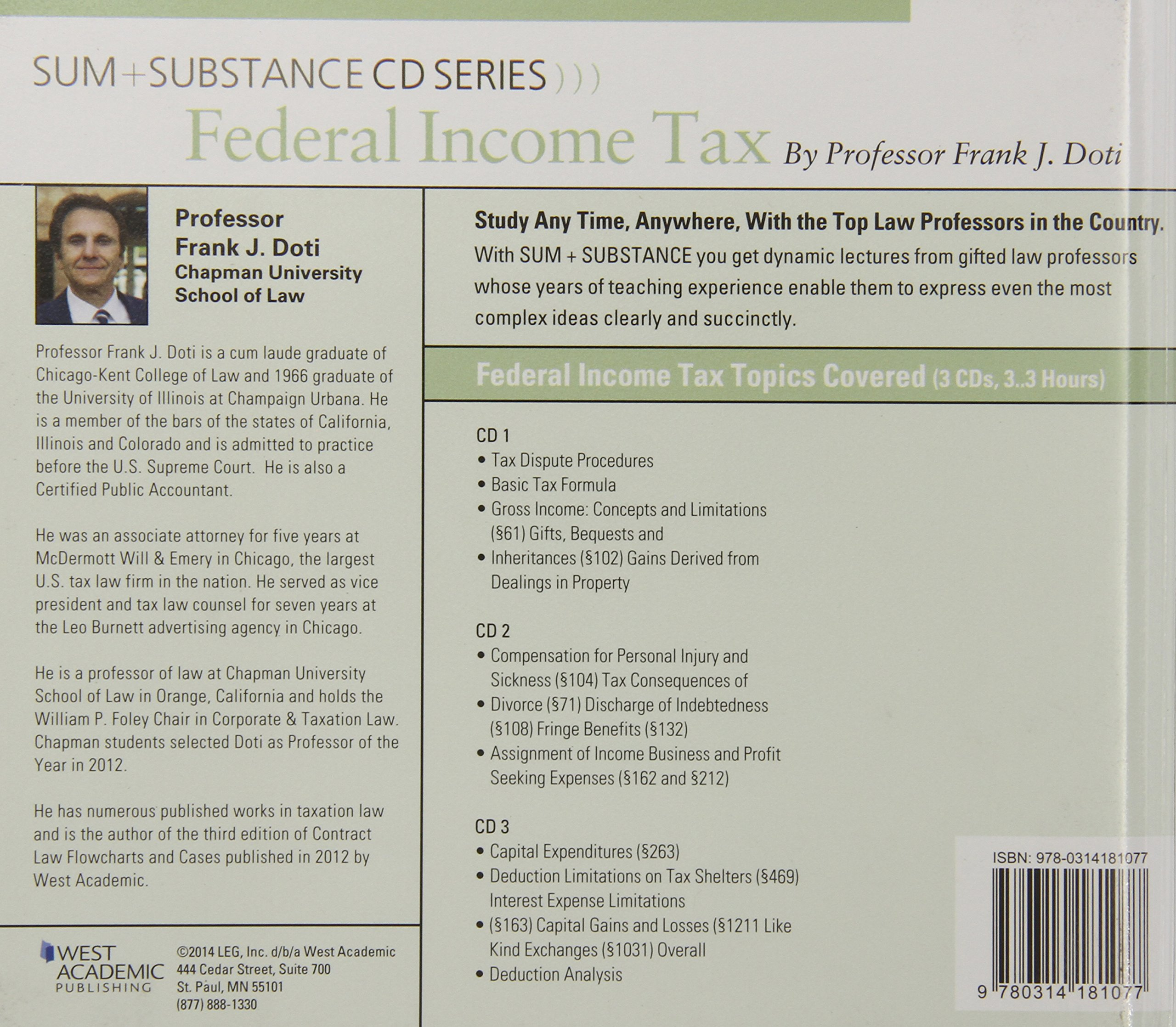 Audio on Federal Income Tax (Sum and Substance Audio)