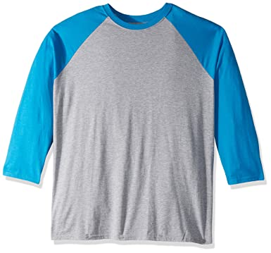 21f56aebac77 Hanes Men's X-Temp Raglan Baseball Tee, Light Steel/Neon Blue, Small