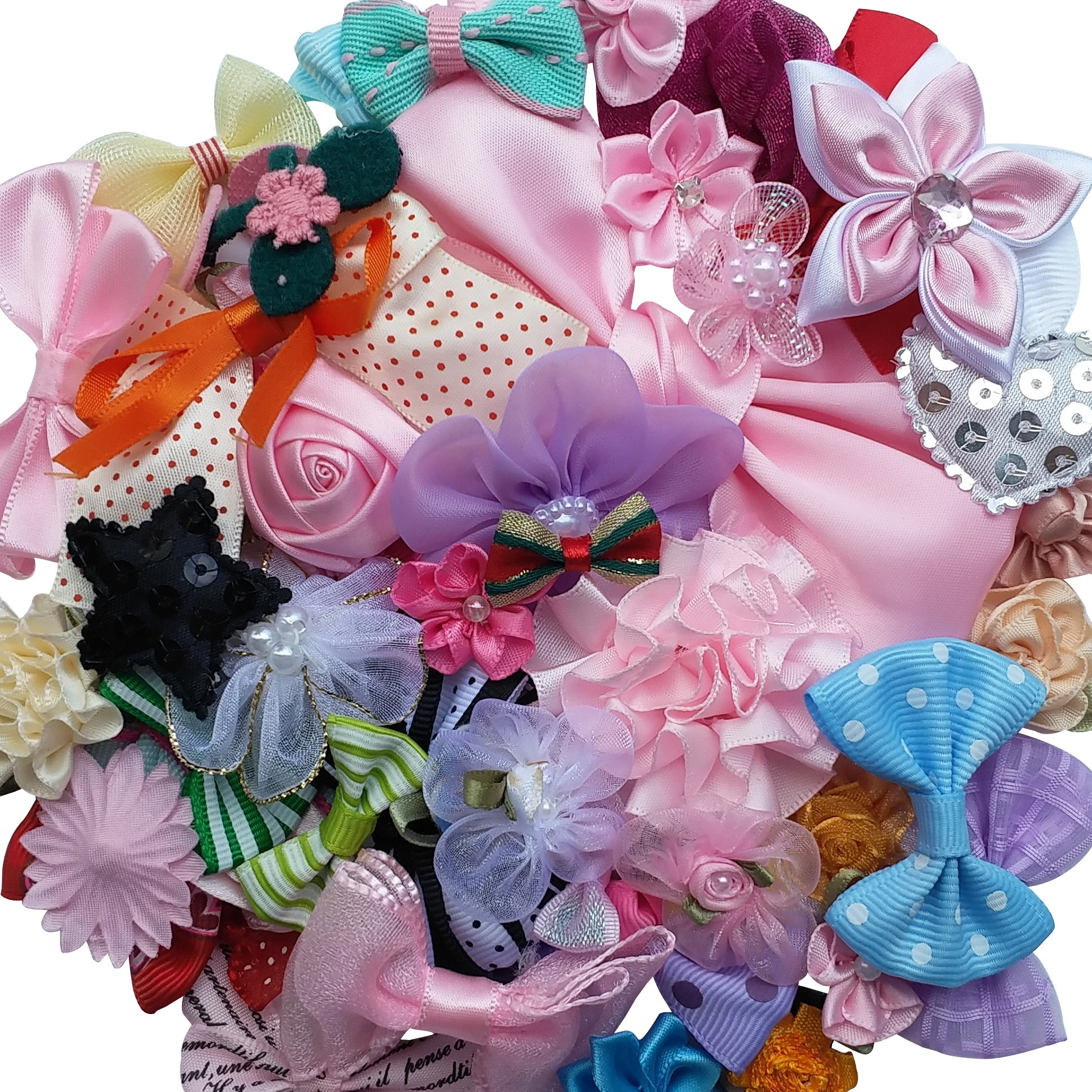 Chenkou Craft Mix Bulk 50pcs Ribbon Flowers Bows Craft Wedding Ornament Appliques A0241