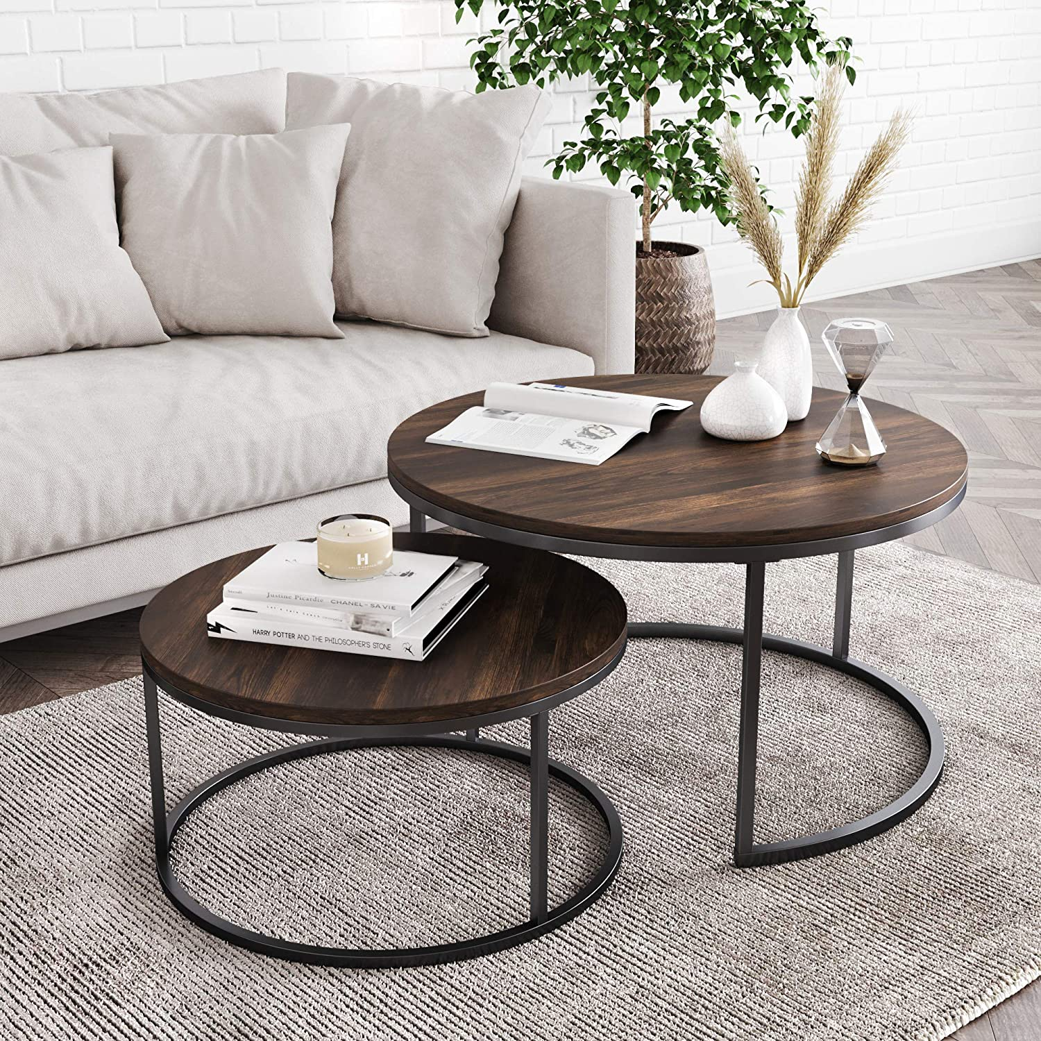 Nathan James 34001 Stella Round Modern Nesting Coffee Table Set Of 2 Stacking Living Room Accent Tables With An Industrial Wood Finish And Powder Coated Metal Frame Warm Nutmeg Matte Black Amazon Ca Home