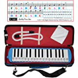 Melodica 32 Keys with Piano Stickers, Hard Cover Carrying Case, Mouthpiece, and Piano Ebook