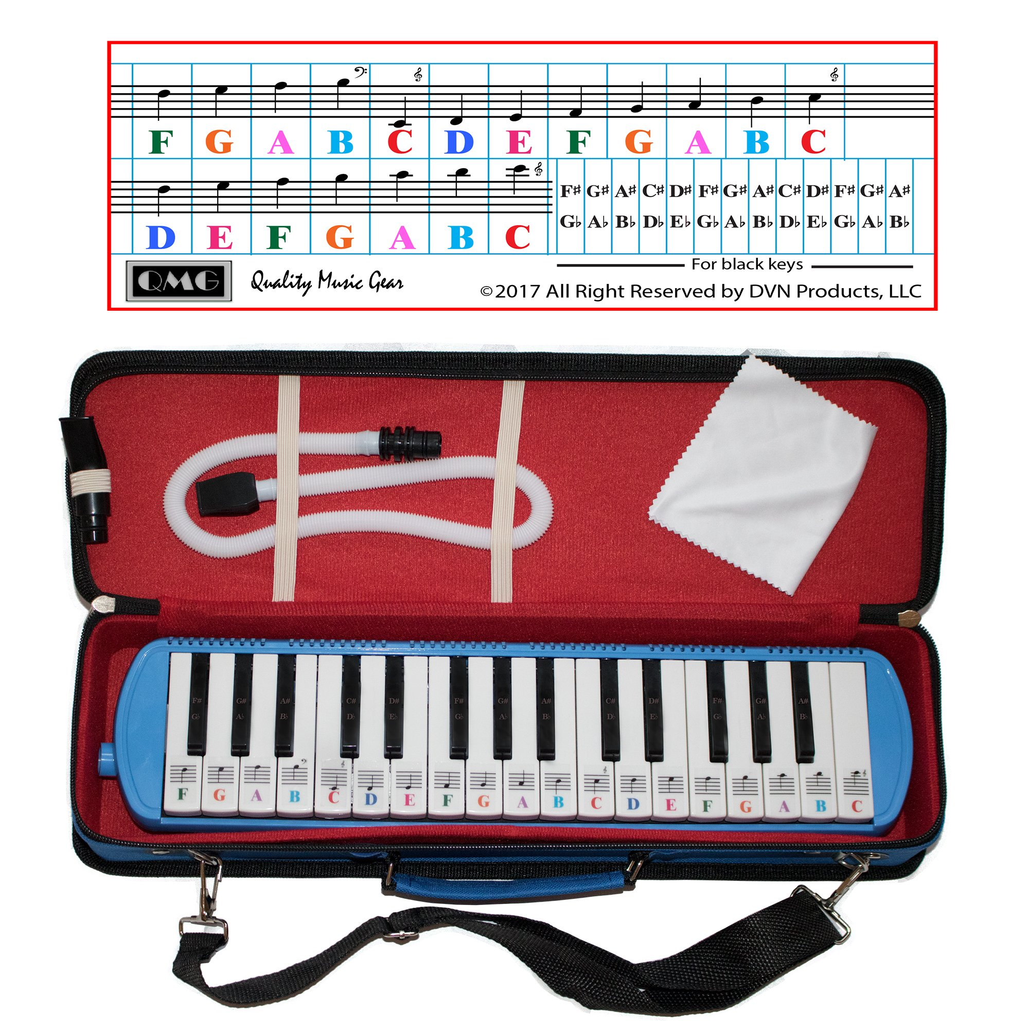 Melodica 32 Keys with Piano Stickers, Hard Cover Carrying Case, Mouthpiece, and Piano Ebook by QMG (Image #1)