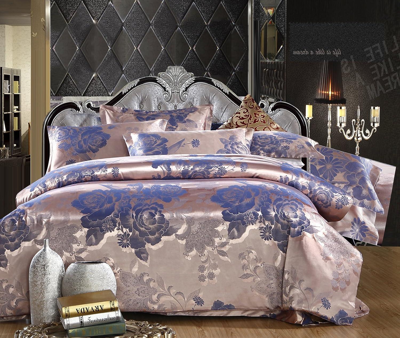 European Style 6 Family Bed, Oil Print Bedding Luxury Romantic Bedroom 4 Pcs Silk Jacquard