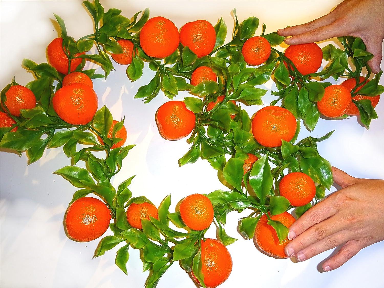 200cm Guirlande avec oranges en plastique–Fruits Décoration factice, imitation alimentaire Banane, faux Food, factice, Idée Déco été, Théâtre Requisite