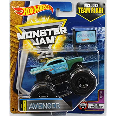2020 Hot Wheels Monster Jam 1:64 Scale Truck with Team Flag - New Look Avenger: Toys & Games