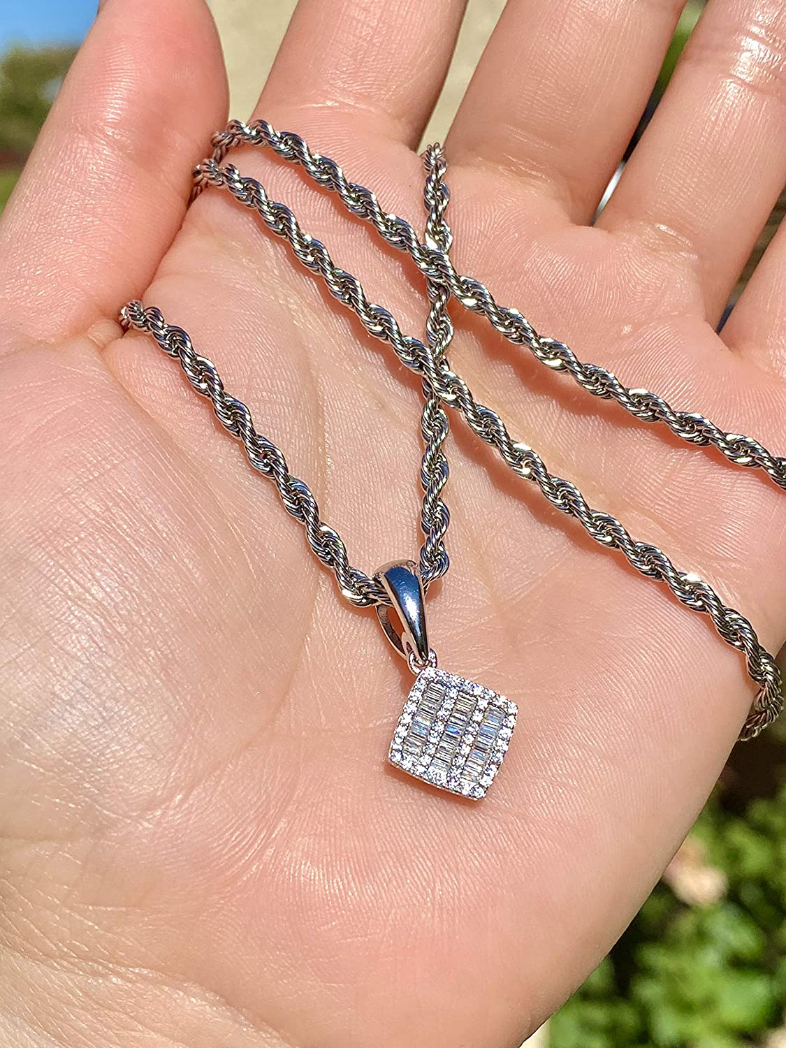 Baguette Tag Men Women 925 Italy White Gold Finish Iced Silver Charm Ice Out Pendant Stainless Steel Real 2 mm Rope Chain Necklace Iced Pendant Rope Necklace 16-24 Mans Jewelry