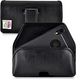 product image for Turtleback Holster Designed for iPhone 11 (2019) and iPhone XR (2018) Belt Case Black Leather Pouch with Executive Belt Clip, Horizontal Made in USA