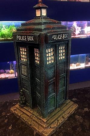 Caja de policía para acuario, pecera, 26 cm, diseño de Tardis Who: Amazon.es: Productos para mascotas