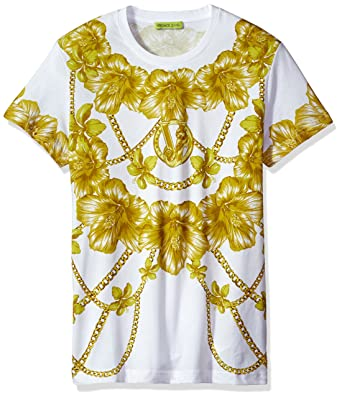 69bce70a Versace Jeans Men's Gold Chain Print T-Shirt, Bianco, Small: Amazon.in:  Clothing & Accessories