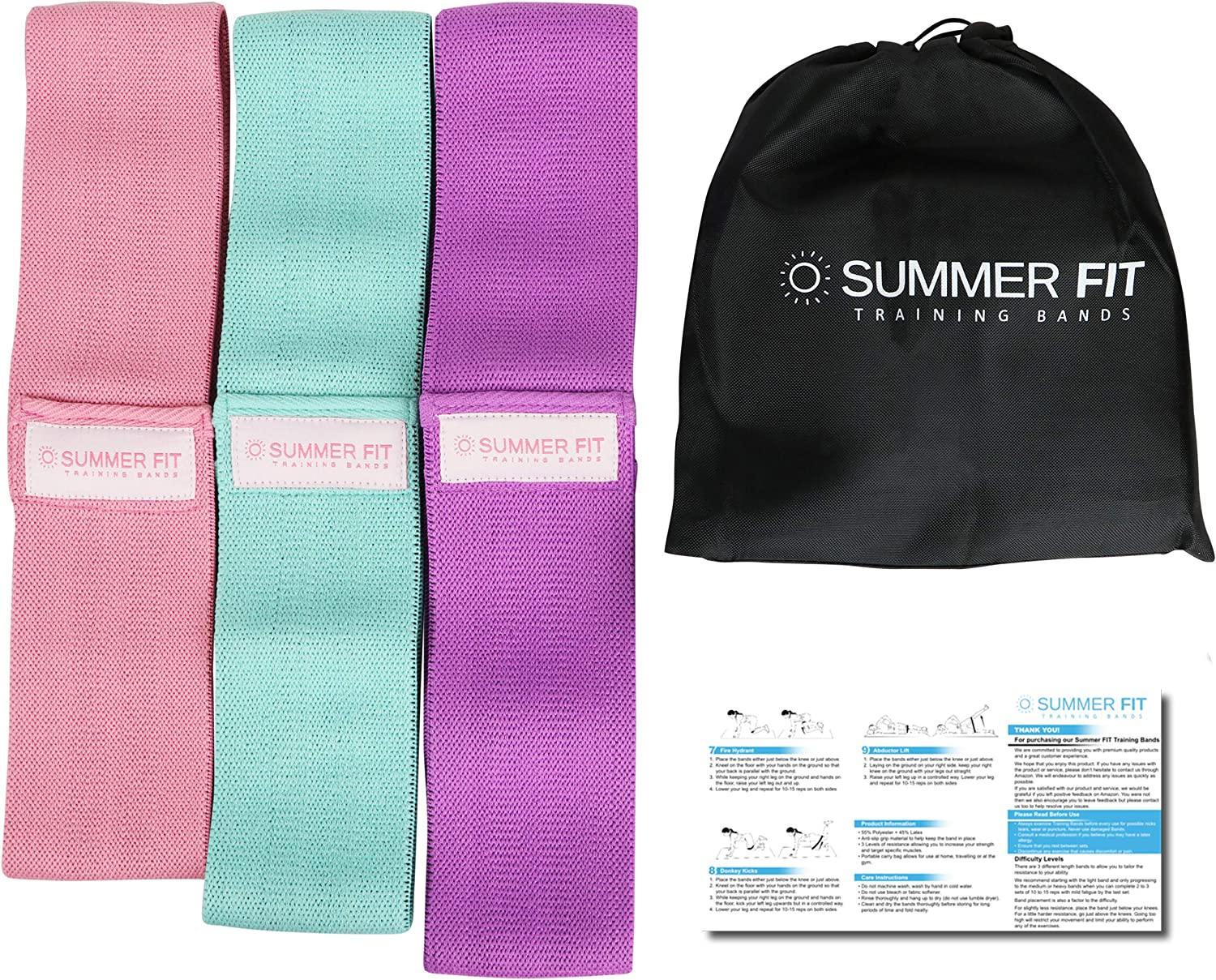 Summer FIT Resistance Bands Thick Design is Hard to Break 3 Non Slip Fabric Hip Bands for Intense Workout of Legs Thighs Butt Glute and Booty Hip Circle Loop is Portable and Easy to Use