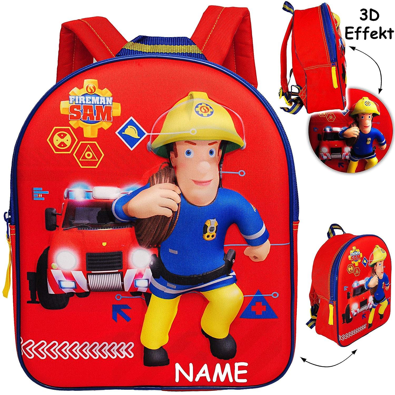 alles-meine.de GmbH 3D Effekt - Kinder Rucksack - Feuerwehrmann Sam Jones - inkl. Name - Tasche - wasserfest & beschichtet - Kinderrucksack / groß Kind - Jungen - z.B. für Kinder.. alles-meine.de GmbH - Rucksack -  Feuerwehrmann Sam Jones