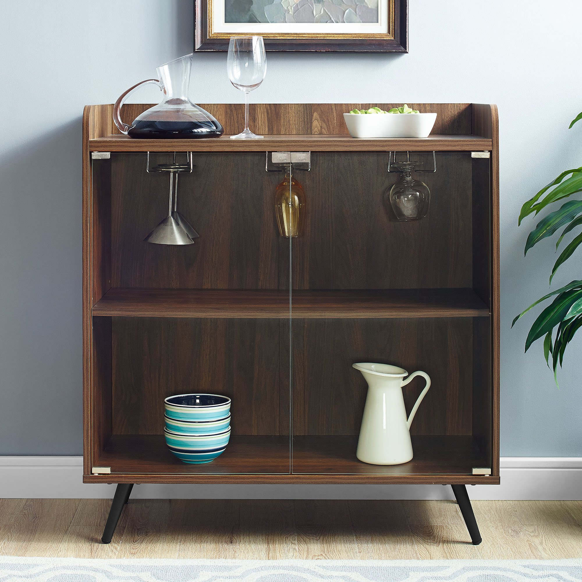 WE Furniture Bar Cabinet w/Storage & Stemware Rack, 38'' H x 16'' W x 30'' L, Dark Walnut by WE Furniture