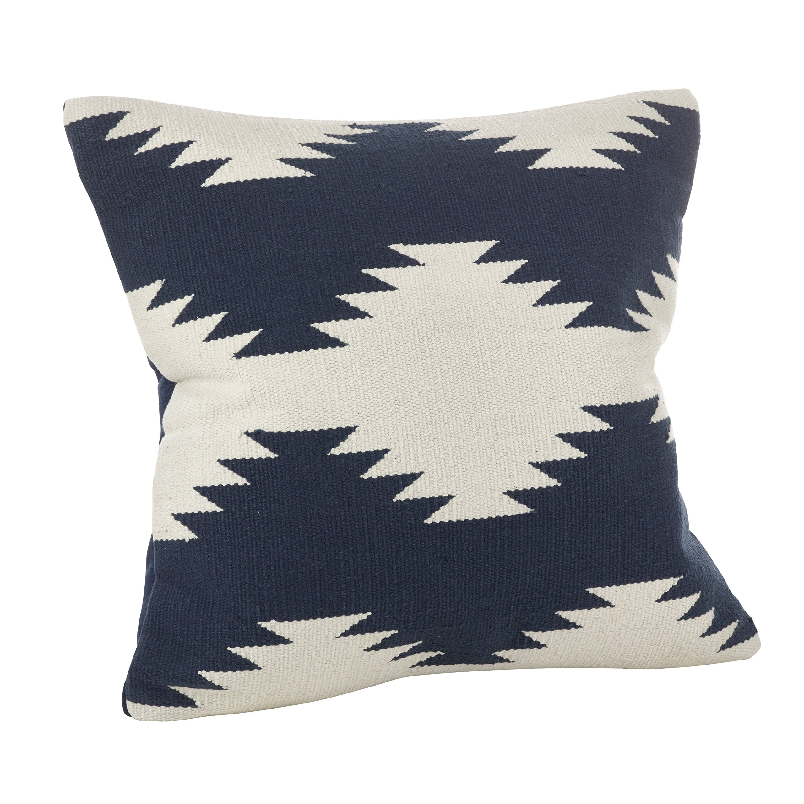 SARO LIFESTYLE Collection Kilim Design Down Filled Throw Pillow, 20'', Navy Blue