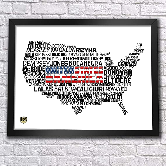 24x18 map tag Cloud Print - Birthday Gift for Soccer Fan Morgan, Rapinoe, Solo, Wambach, Lloyd, Hamm. Nicomemz USWNT USA Women National Soccer//Football Team Poster