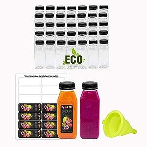 8 Oz Empty Eco Friendly PET Plastic Juice Bottles - Pack of 35 Reusable Clear Disposable Milk Bulk Containers with Black Tamper Evident Caps Lids