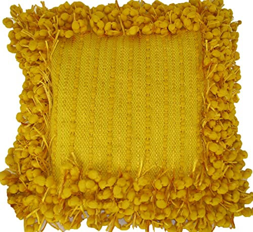 Design Accents Funberry Border Hand Woven Toss Pillow, Yellow, 20-Inch by 20-Inch