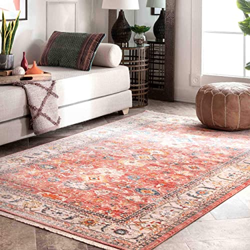 nuLOOM Betty Floral Fringe Area Rug, 8 x 10 , Red