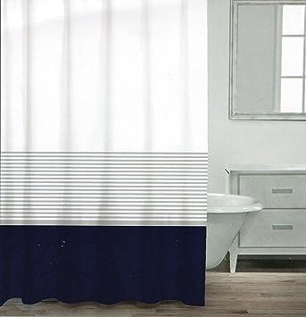 navy and white shower curtain. CARO Home Fabric Shower Curtain Wide Navy Blue White and Silver Stripe Amazon com