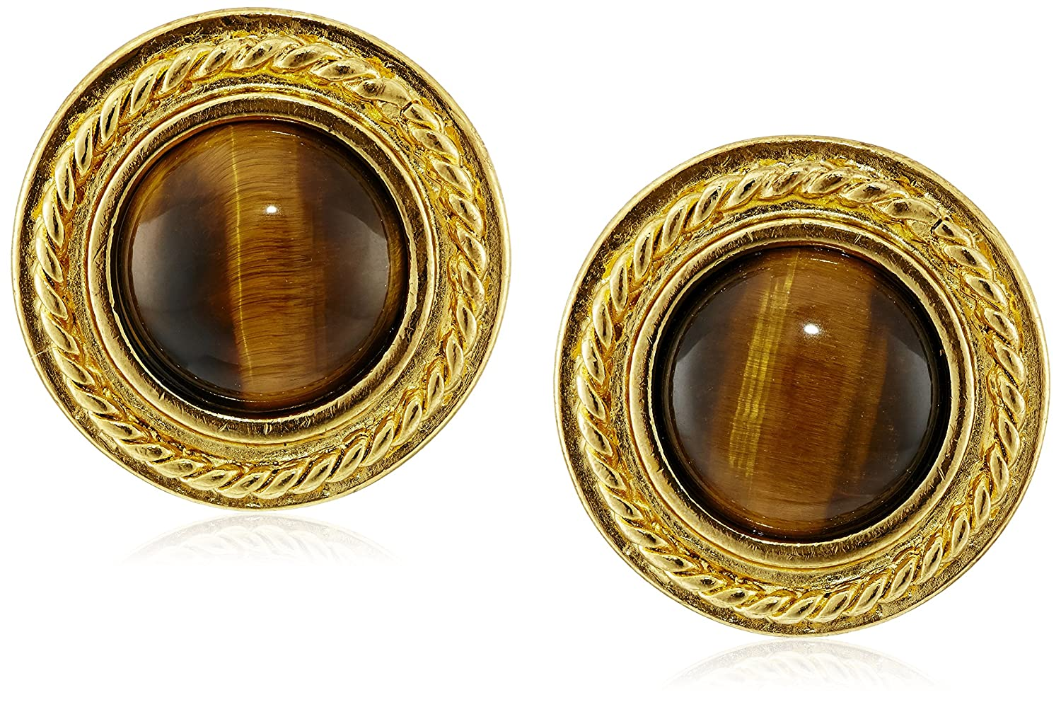 Ben-Amun Jewelry Tiger Eye Gold-Plated Clip-On Earrings 65115