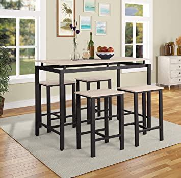 Amazon Com 5pc Dining Table Set Counter Height Table Set Minimalist Dining Table Chair Set For 4 Person Easy Assembly Modern Style Solid Wood Metal Legs Home Kitchen Living Room Furniture