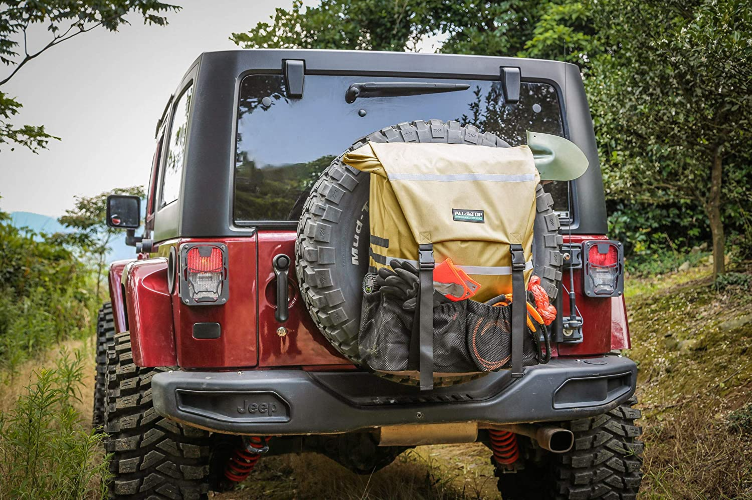 Fit up to 40 Tire - Tool /& Gear Organizer for Outdoor Off-Road Expedition Yellow Tan ALL-TOP Overland Series Spare Tire Trash Bag