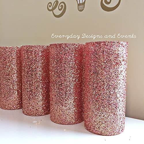 Amazon Set Of 12 Rose Gold Glitter Glass Cylinder Vases