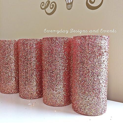 Amazon Set Of 12 Rose Gold Glitter Glass Cylinder Vases